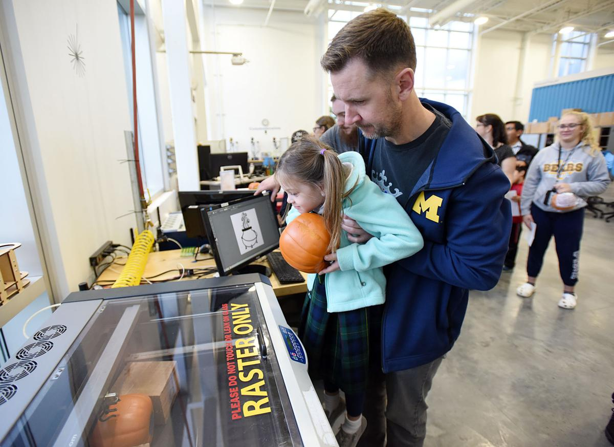 LMC's Fab Lab uses lasers to carve pumpkins