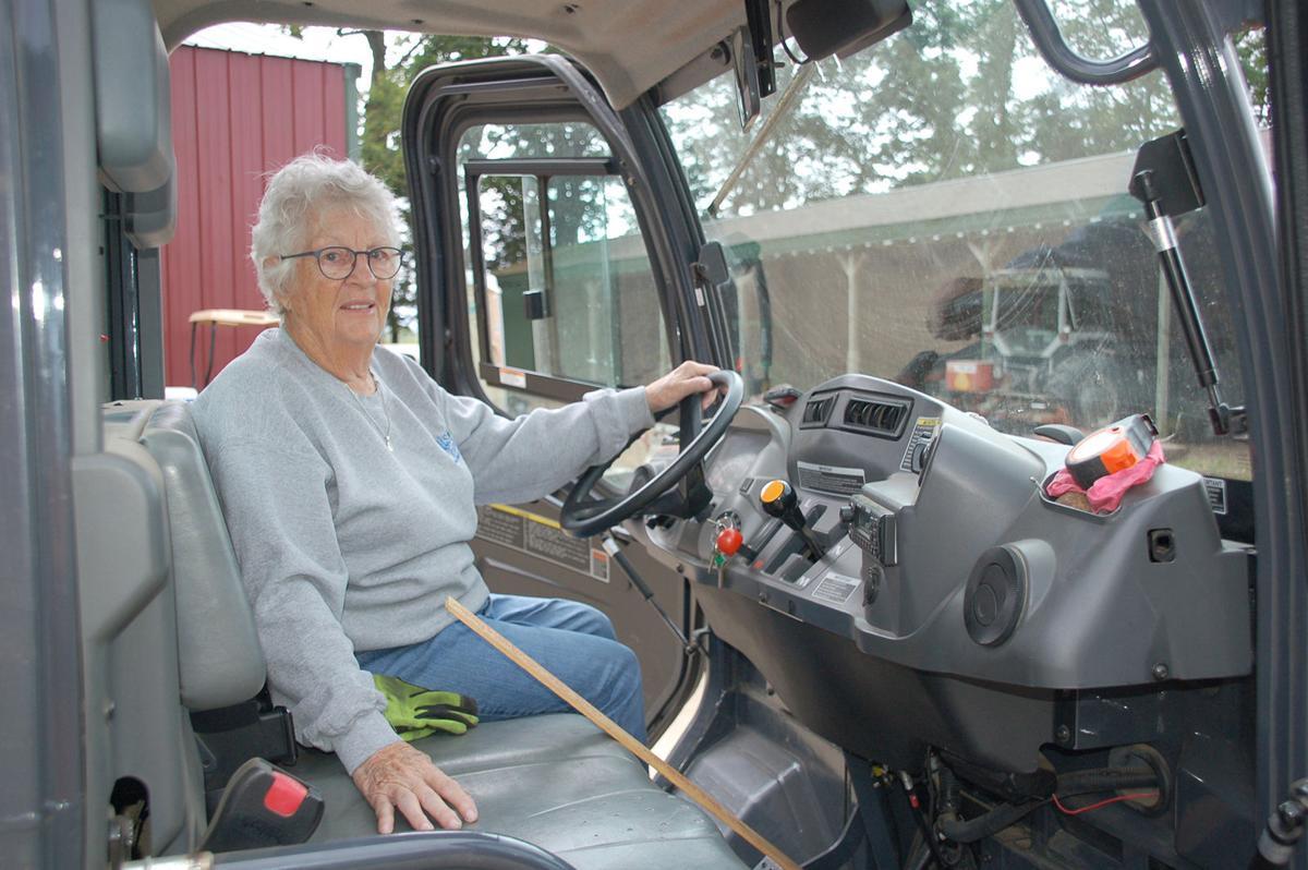 Mary Ellis in Kubota tractor