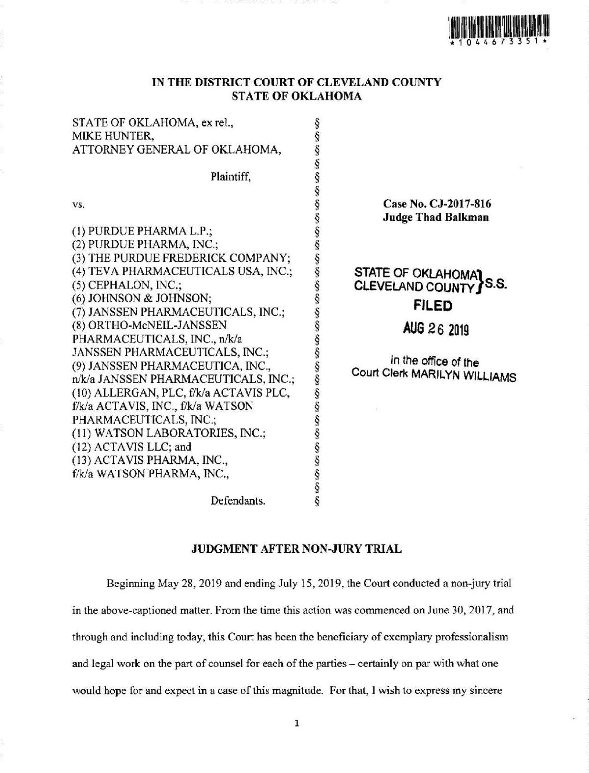 JUDGMENT AFTER NON-JURY TRIAL