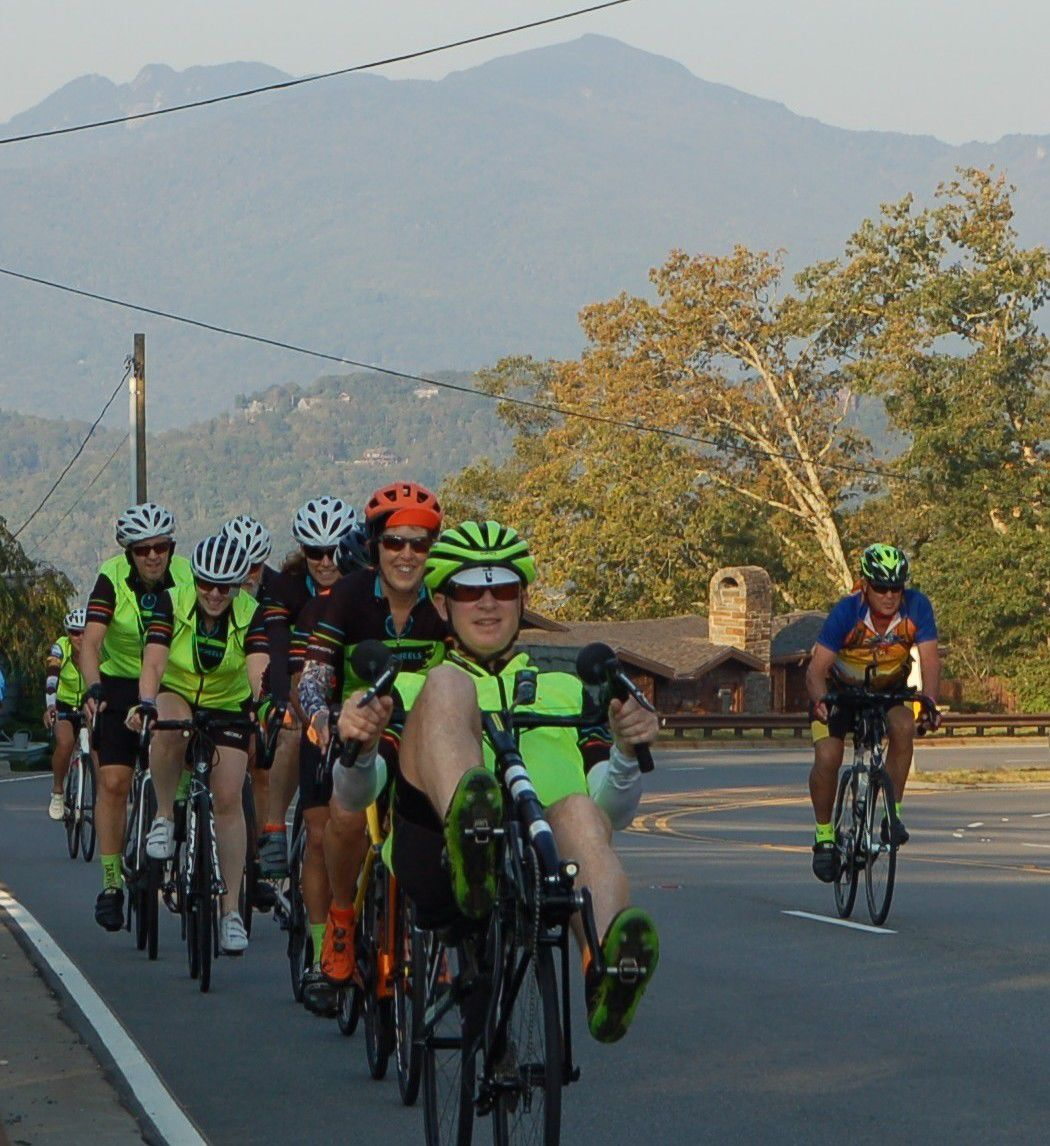 Cyclists and Grandfather Mountain