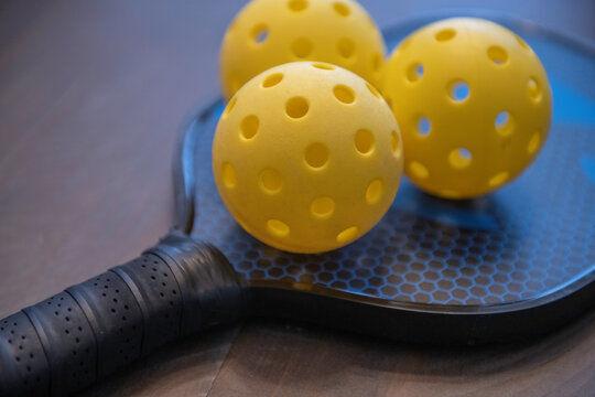 Pickleball racket and balls