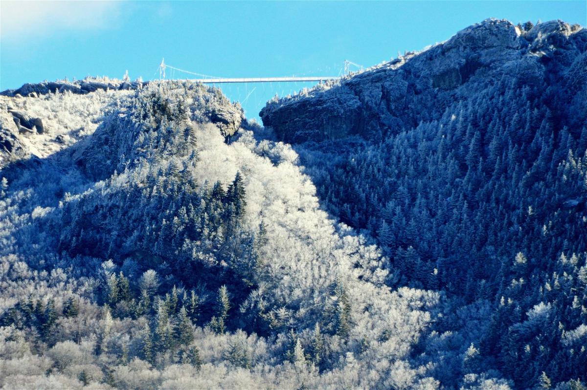 Bridge snow scene