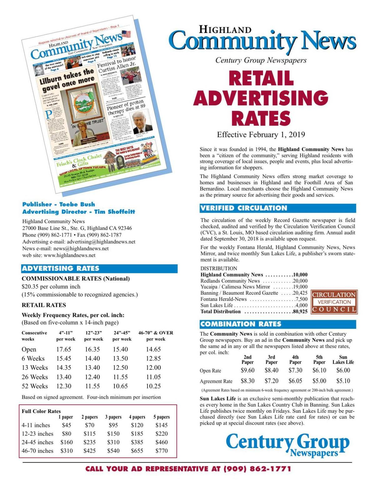 Retail Advertising Rates