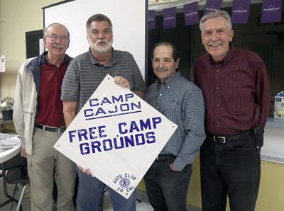 Camp Cajon Free Camp Grounds sign sponsored by Auto Club of So Cal