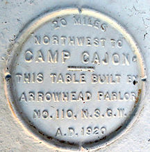 A historic table at Camp Cajon sponsored by the Arrowhead Parlor