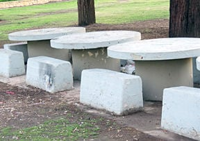 Historic concrete tables from Camp Cajon
