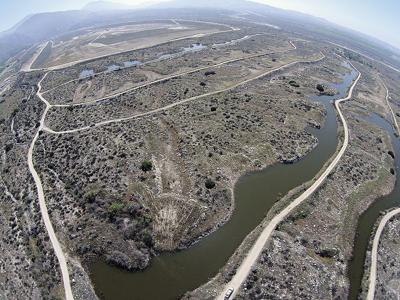 An aerial view of local ponds used to recharge water into the basin.