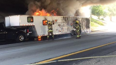Fully involved trailer