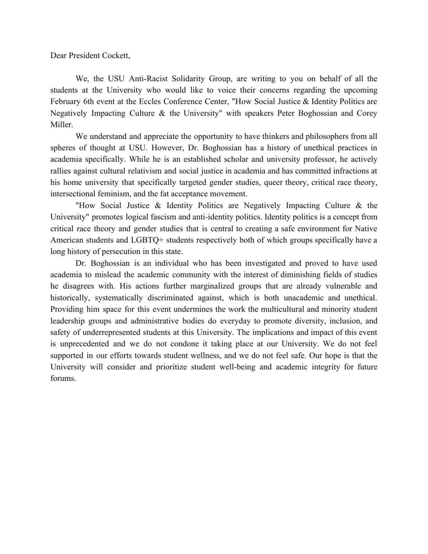 USU Anti-Racist Solidarity Group letter