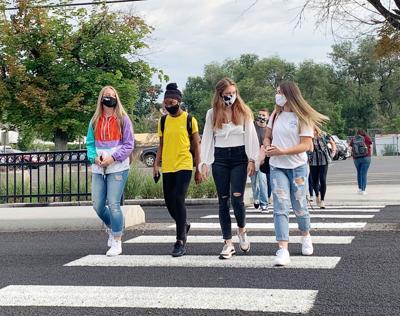 Logan High students in masks