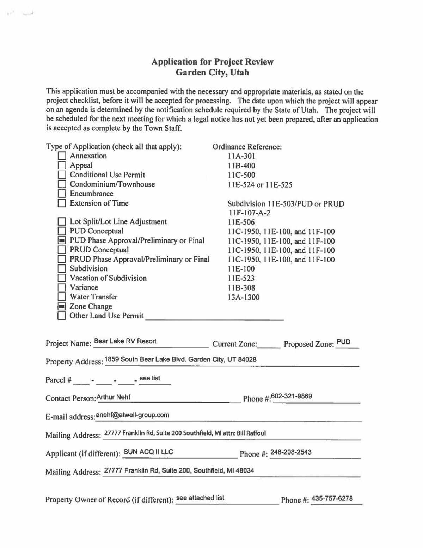 Bear Lake RV Resort application