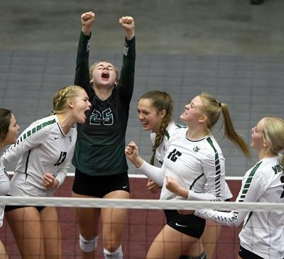 state volleyball GREEN CANYON celebration