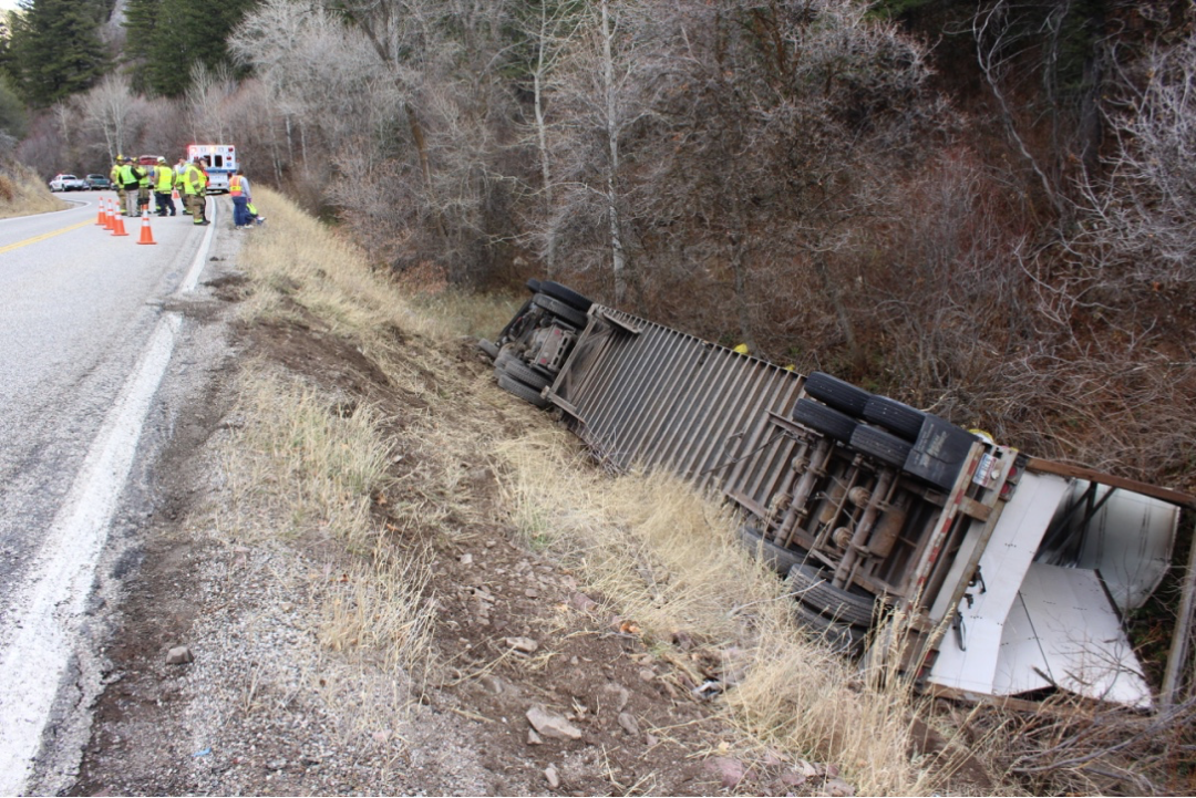 Semi rollover to temporarily close HWY 36 East of Mink Creek