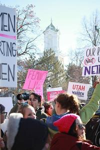 Women march in Logan as part of fourth-annual national event