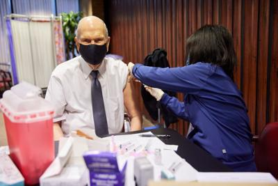 President Russell M. Nelson receives the first dose of a COVID-19 vaccine on Tuesday, January 19, 2021, in Salt Lake City.