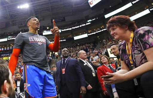 NBA fines Westbrook $25,000 for language; Jazz ban fan
