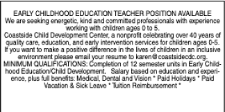 EARLY CHILDHOOD EDUCATION TEACHER POSITION