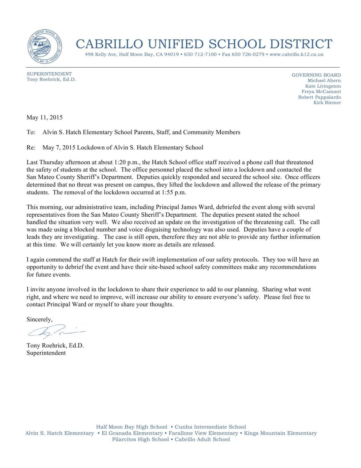 Superintendent's response | Local News Stories | hmbreview com