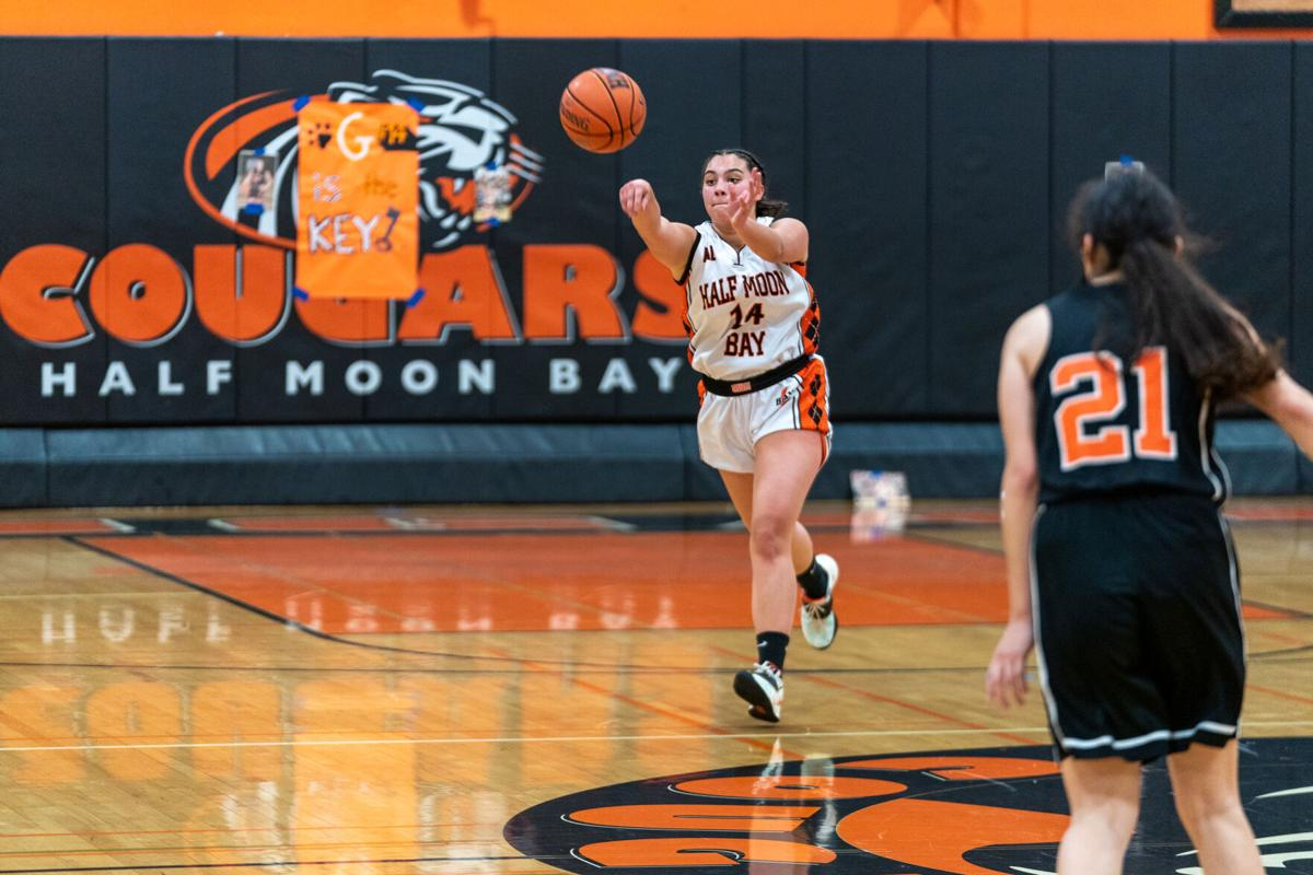 Genevieve Belmonte passes the ball down the court