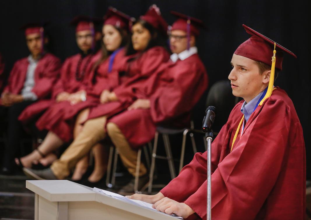 James Stockbridge-Souza addresses classmates