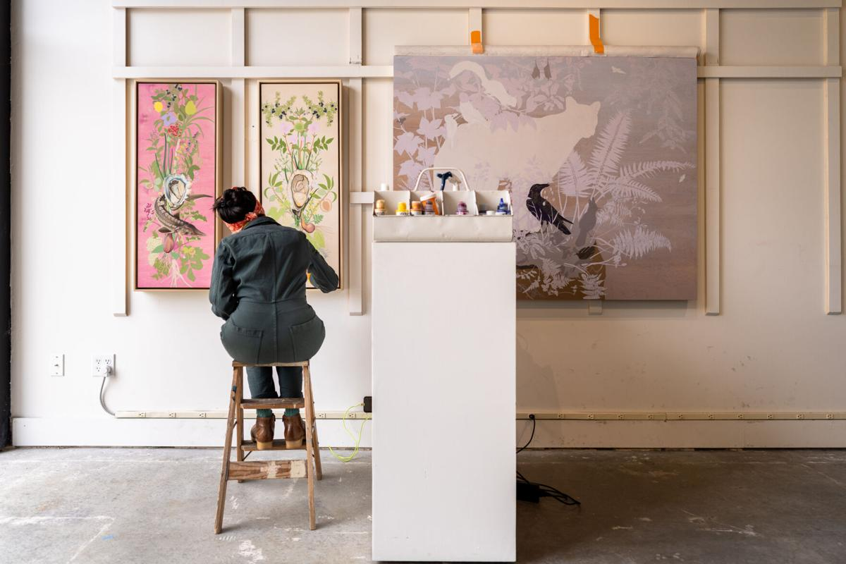 Jane Kim painting for her upcoming show