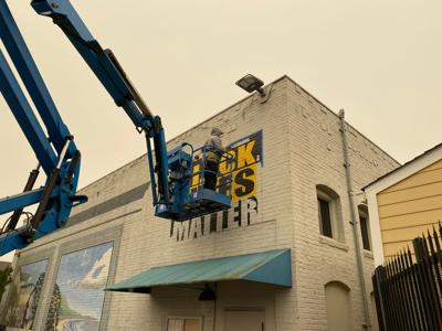 A view from below of the BLM Mural