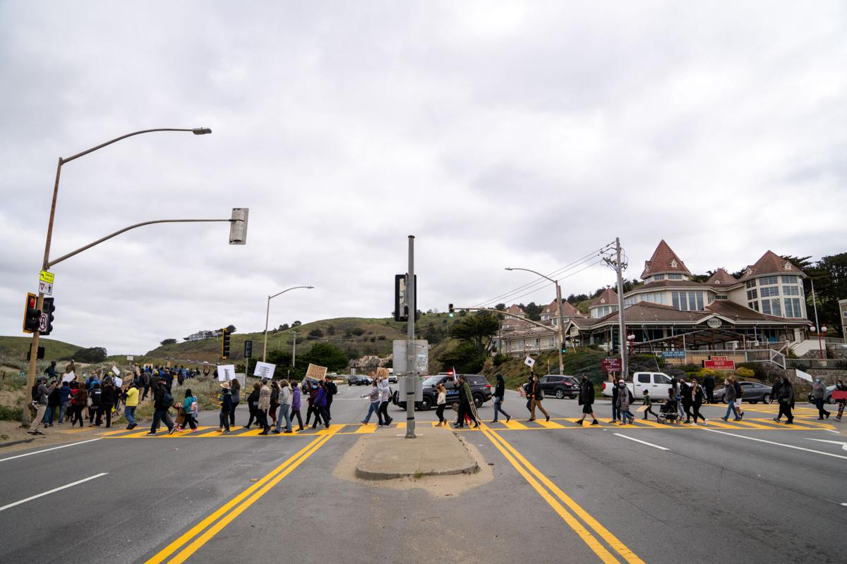 AAPI Protest across Highway 1