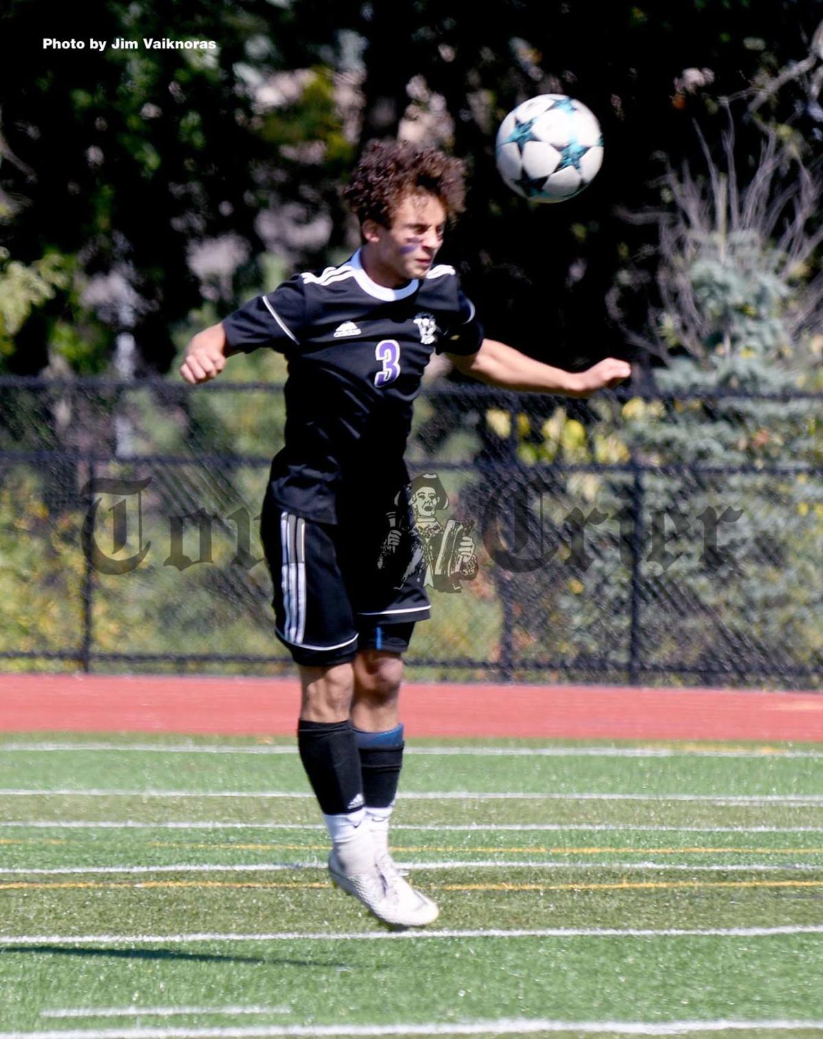 Shawsheen's Jeremy Perez heads the ball