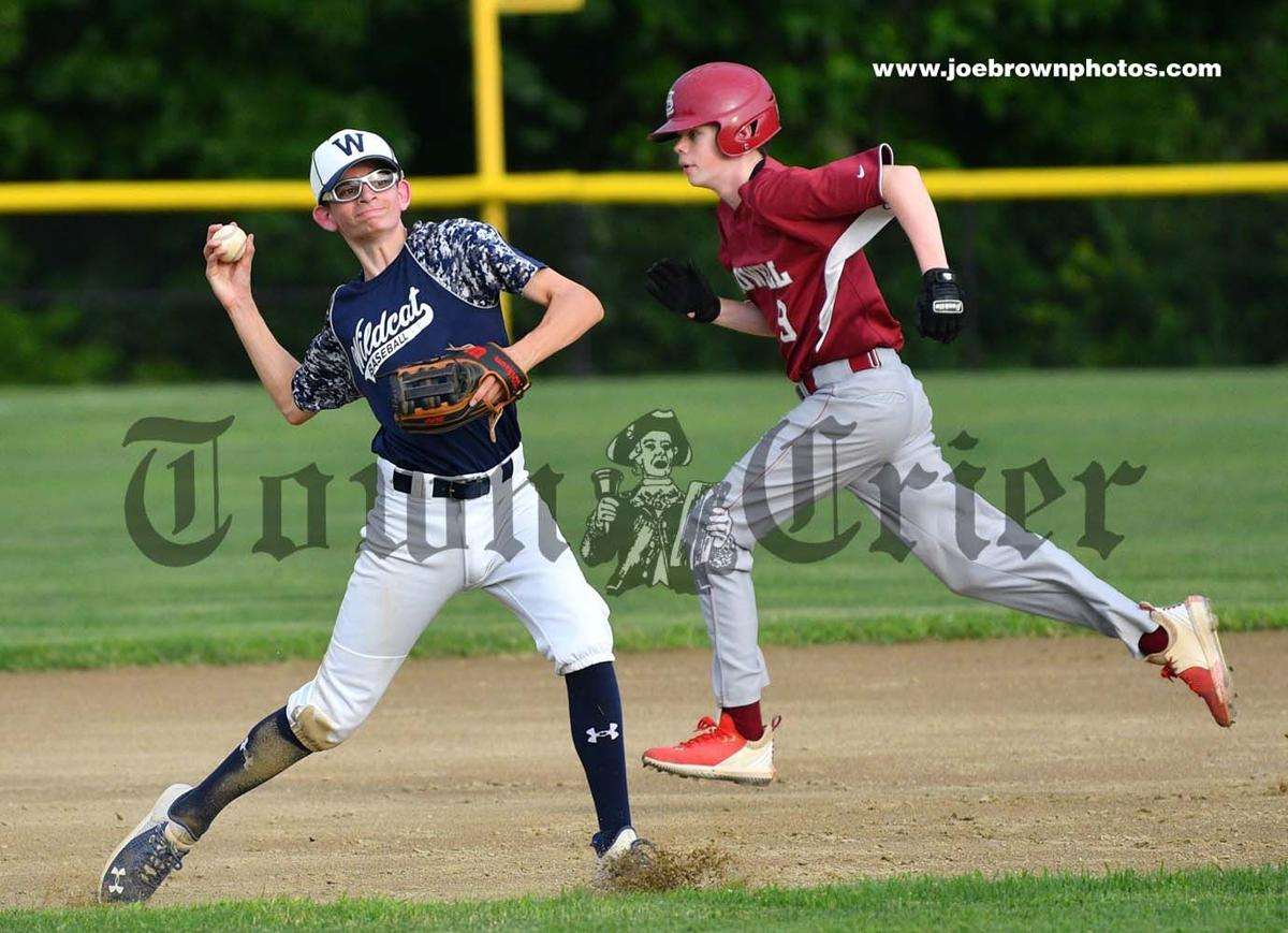 Shortstop Michael Dynan looks to make the out at first base