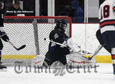 Shawsheen Tech goalie Kameron Neault makes a save