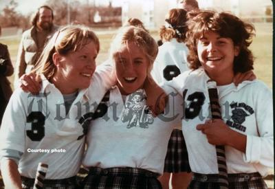 Sharon Zwicker, Janelle Fitch and Marianne Campbell of the 1980 WHS Field Hockey Team