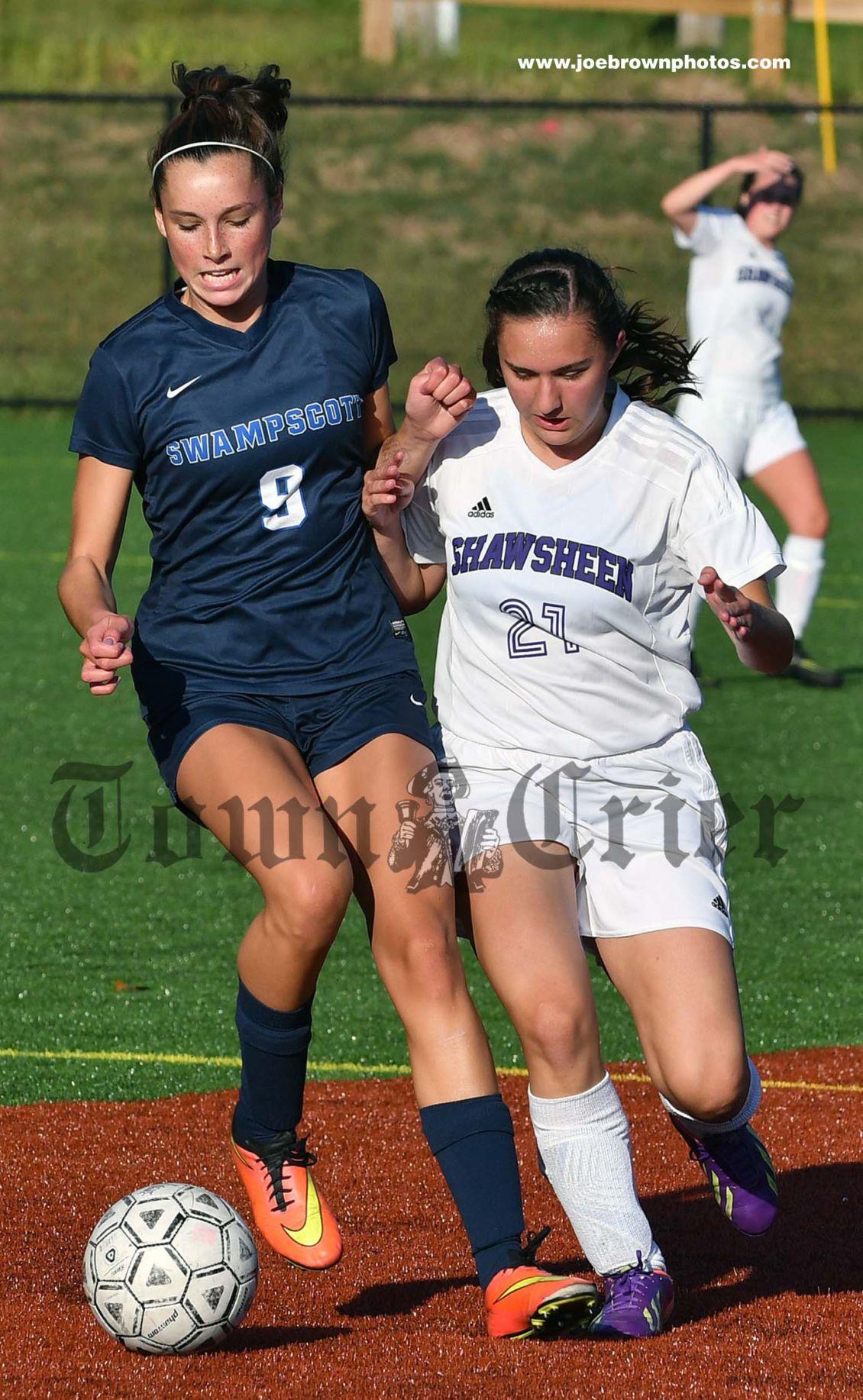 Rachel MacDonald battles for the ball for the Shawsheen Tech Girls' Soccer team