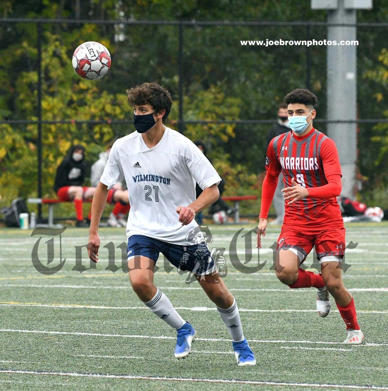 Wilmington's Patrick Xavier keeps an eye on the ball