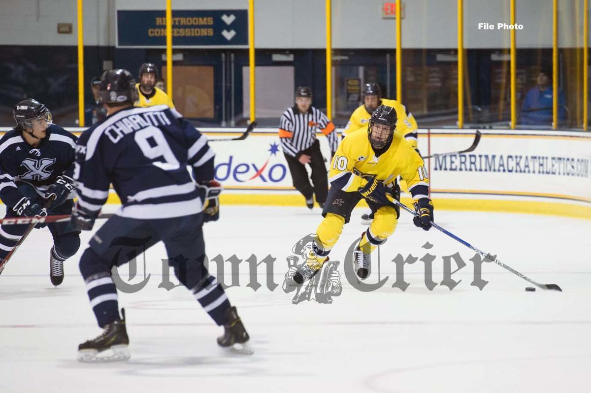Derek Petti playing in Hockey East at Merrimack College