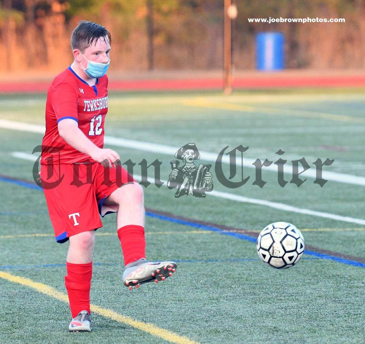 Dylan Crowley works the ball for the TMHS Boys Soccer team
