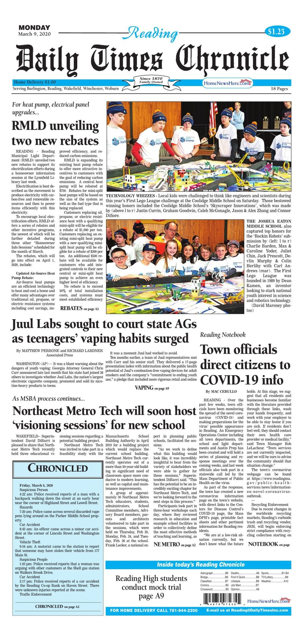 Reading Daily Times Chronicle March 9, 2020