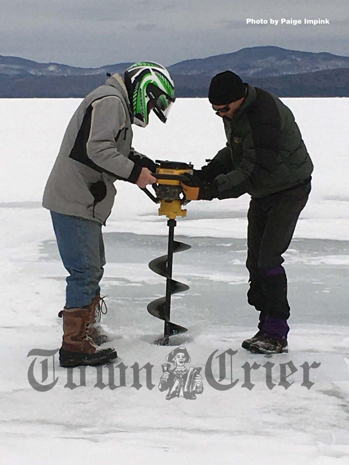 An ice auger is used to cut holes in the ice