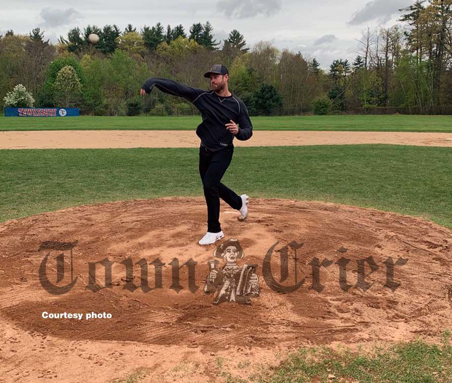 Former TMHS Baseball pitcher Scott Oberg threw out the first pitch
