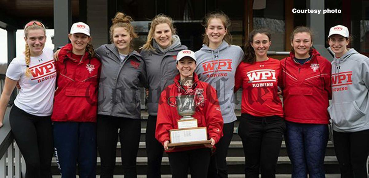 Tewksbury resident Eva Barinelli, far right, poses with her WPI Rowing teammates