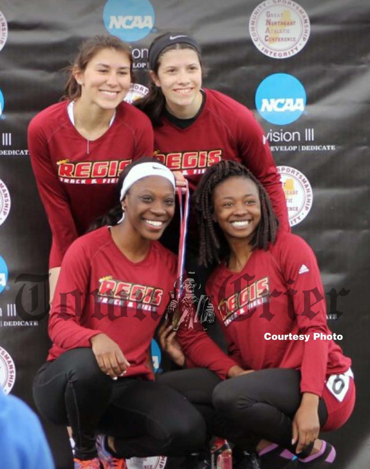 Froio has a day to remember at gnac championship meet sports the members of regis colleges 4x400 relay team m4hsunfo
