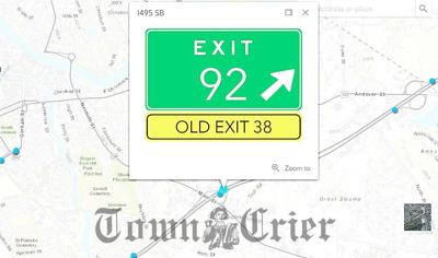An interactive map on MassDOT's website shows changes between old and new exits