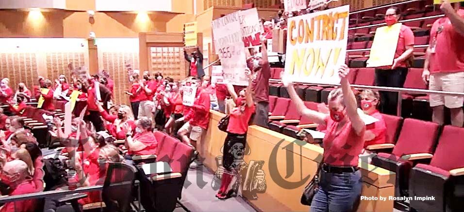 Tewksbury teachers and aides attended the School Committee meeting on Sept. 22