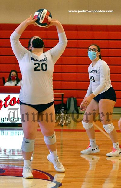 WHS setter Haeleigh Wilson gets ready to send a pass to Mia Vestal