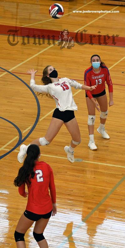Sophomore Corinna Barron shows off her jump serve