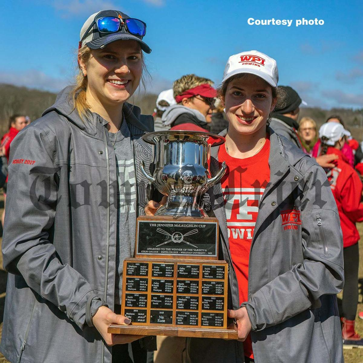 Barinelli, right, with the Jennifer McLaughlin Cup