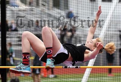 Allison Haley clears the high jump
