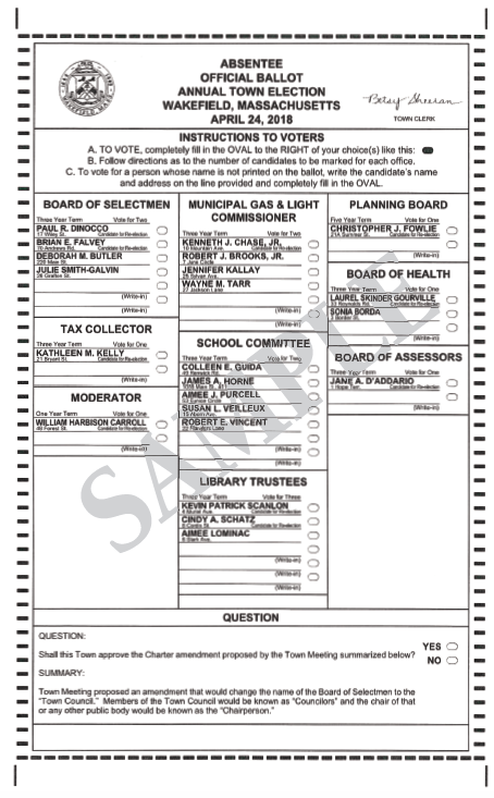 Voting reminders for April 24th election and Sample Ballot