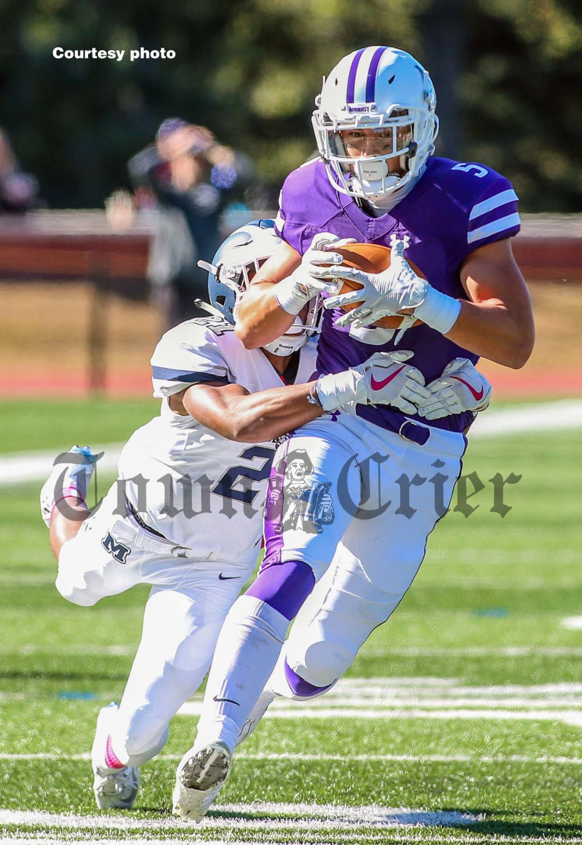 James O'Regan makes a catch for Amherst College
