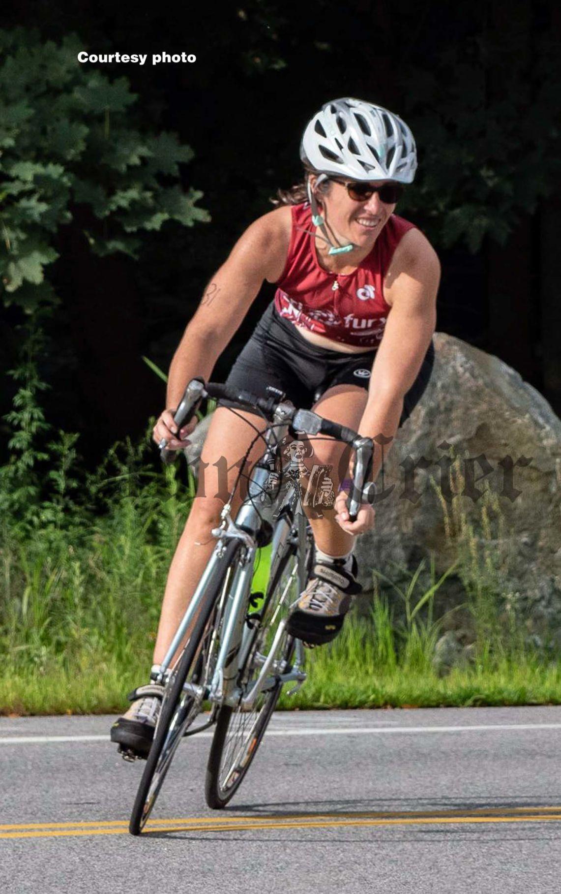 Diane Grove competing in a Triathlon