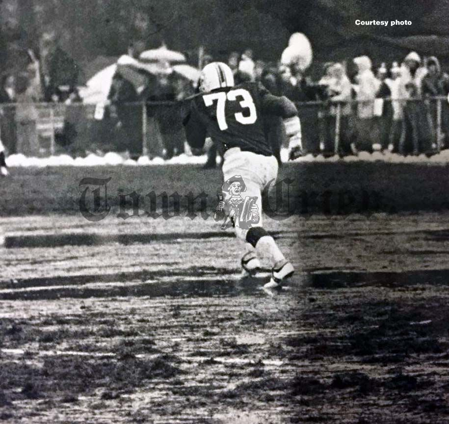 Mark Stephens on a muddy Doucette Field in 1975